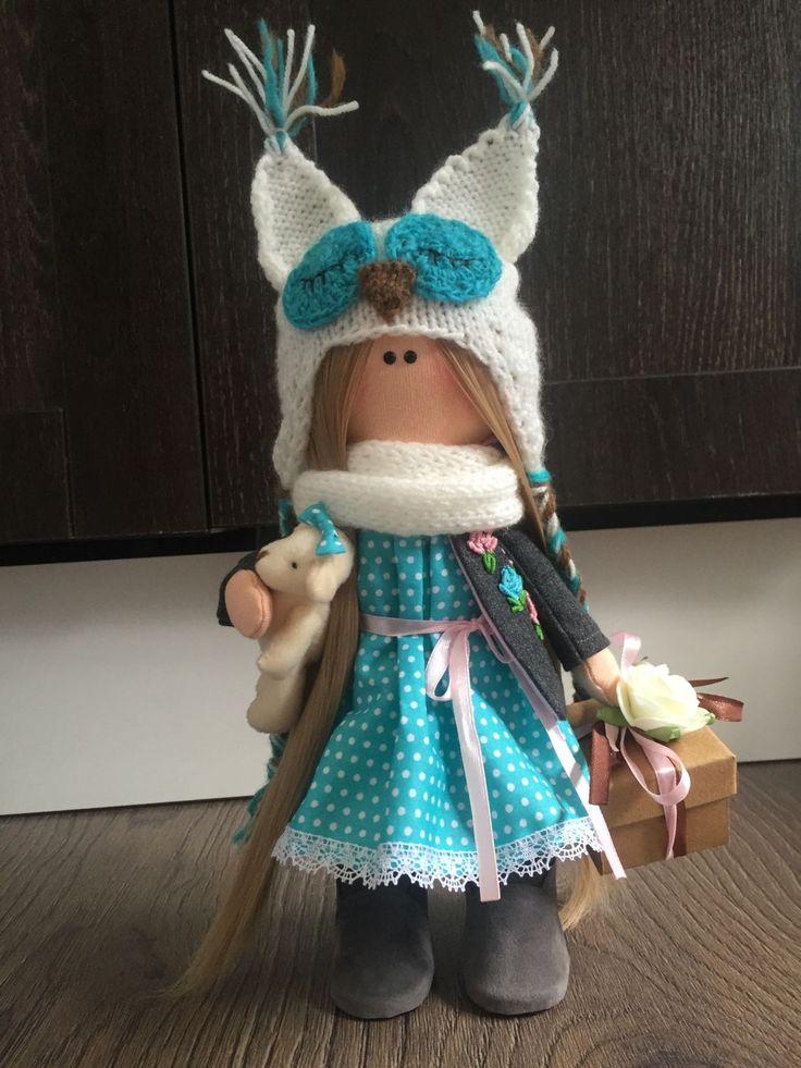Купить Кукла текстильная Совушка - интерьерная кукла, текстильная кукла, тильда, тильда кукла, большеножка