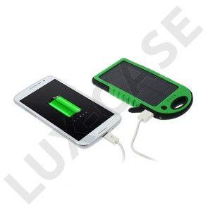 Vandtæt Solcelle Power Bank (Grøn) 5000mAh til Smartphones