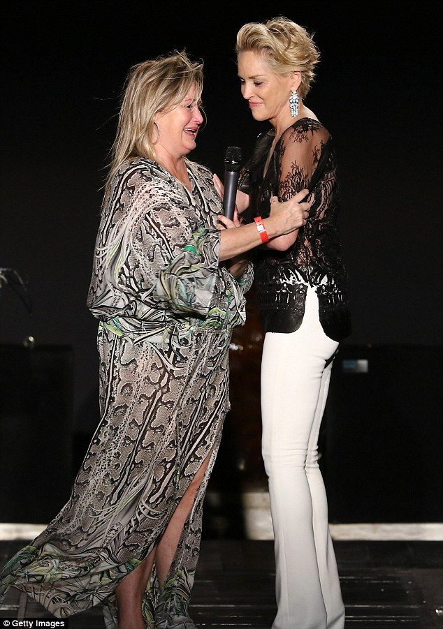 Sharon stone shows some skin in sheer blouse as she weeps for Tile fashion
