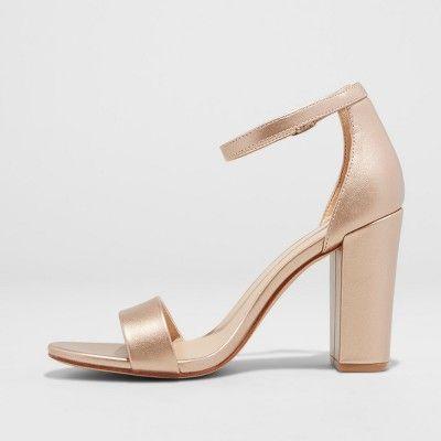 127aace8578 Women s Ema Satin Wide Width High Block Heel Pump Sandal - A New Day Rose  Gold 6W