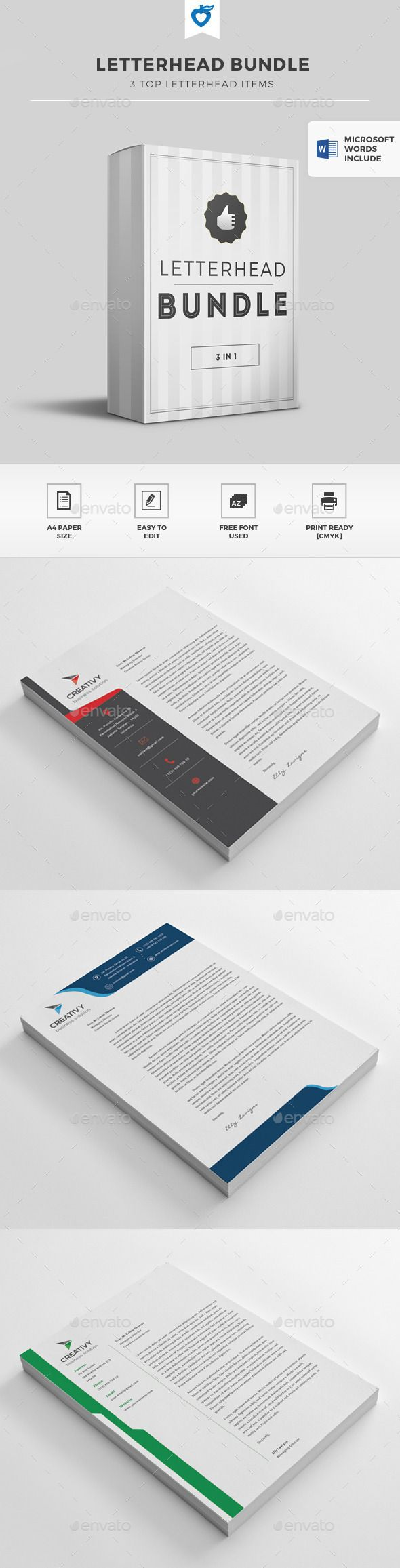 letter format on letterhead%0A Letterhead Bundle