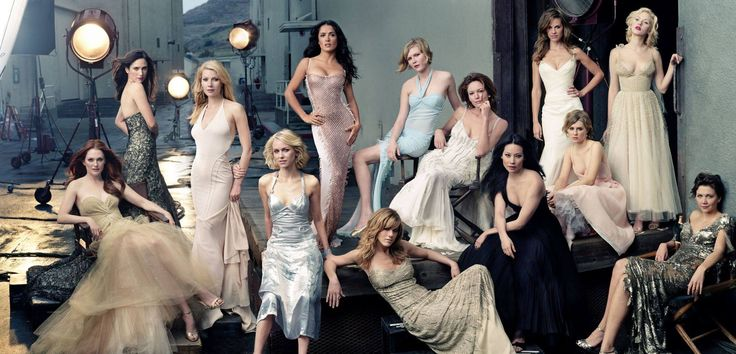 """Send in the Gowns"" by Annie Leibovitz (2004). Julianne Moore, Jennifer Connelly, Gwyneth Paltrow, Naomi Watts, Salma Hayek, Jennifer Aniston, Kirsten Dunst, Diane Lane, Lucy Liu, Hilary Swank, Alison Lohman, Scarlett Johansson, and Maggie Gyllenhaal."