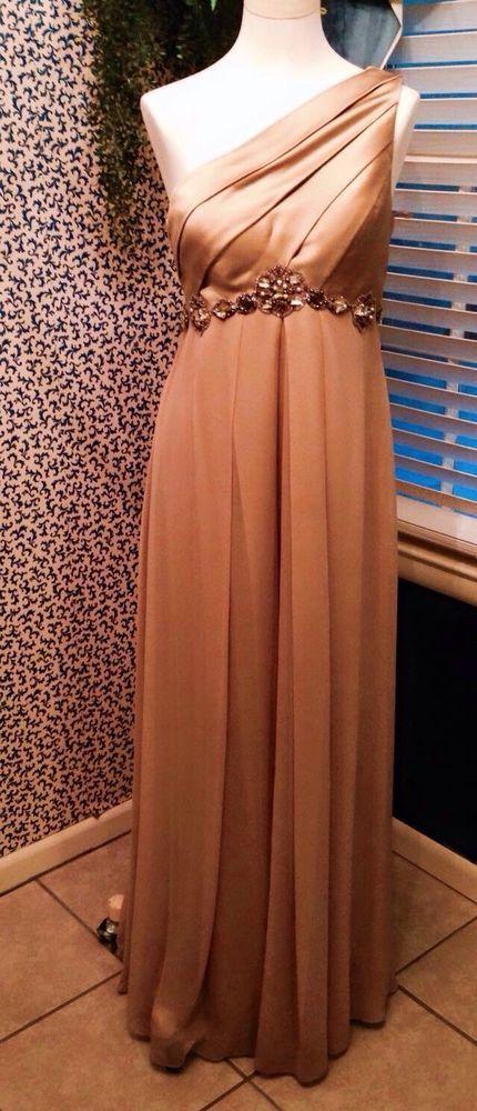 Beautiful Long Gold One Shoulder Strap w Wrap Ballroom Dance Gown Kay Unger 8   eBay
