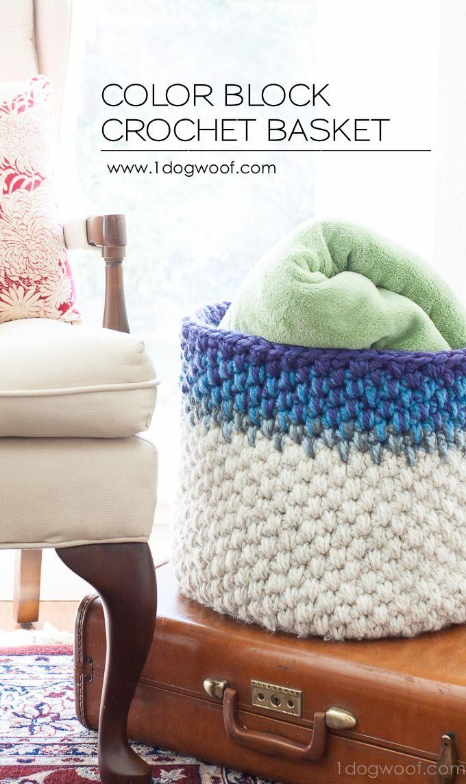 Color block crochet basket pattern cestas de ganchillo - Cesta de cuerda y ganchillo ...