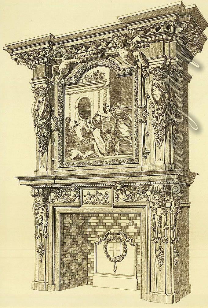 Камин. Франция 17 век. (--Старинные, Антиквариат, )