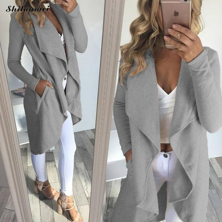 Discount 15% Original Price US $22.72 New Autumn Fashion Womens Wool Blend Trench Coat Casual Long Outerwear Loose Clothing for lady manteau femme hiver grey coat like there is no tomorrow
