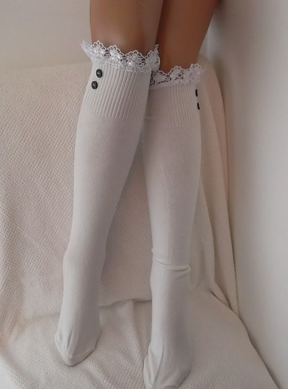 Ivory White Socks  Boot socks boot cuffs leg by CarnavalBoutique