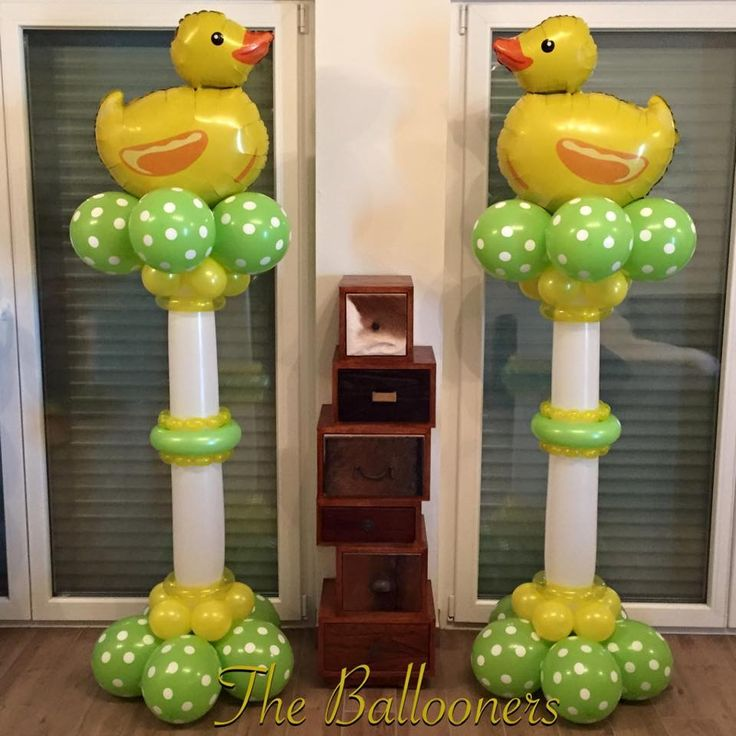Great baby shower balloon decorations  Lime green white polka dots rubber duckies   The Ballooners!