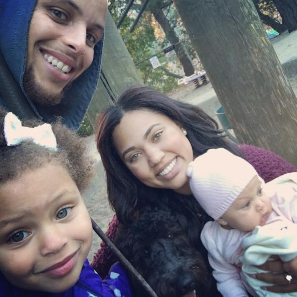 See a beautiful photo of Golden State Warriors baller Stephen Curry, his wife Ayesha, and their daughters, Riley and Ryan Carson.