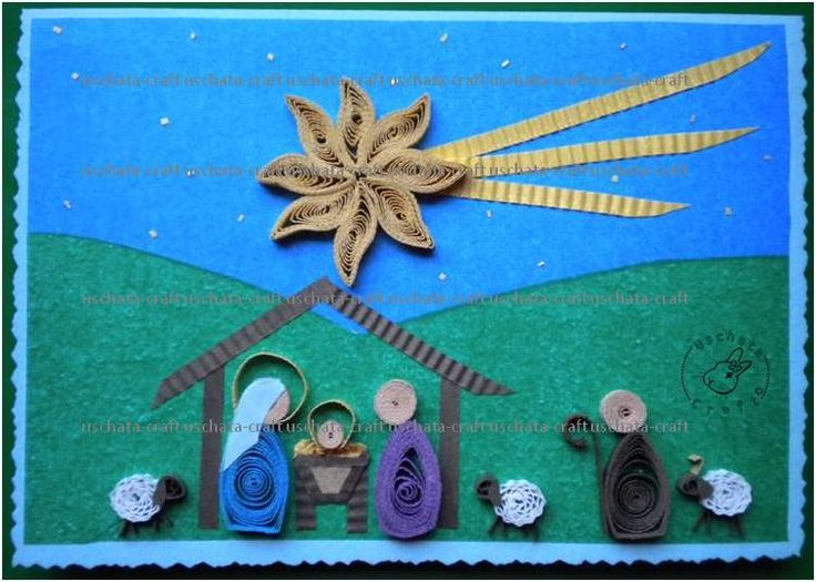 The first of this Year Christmas Cards. - - - Question: Should Joseph also have a halo? - - - materials: background - blotting paper, figures - 80g colour paper, bookbinding glue. - - - PLEASE, DO ...