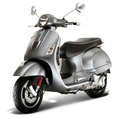 Vespa GTS 300 Super in Titanium which has a kind of matte finish instead shiny metal.