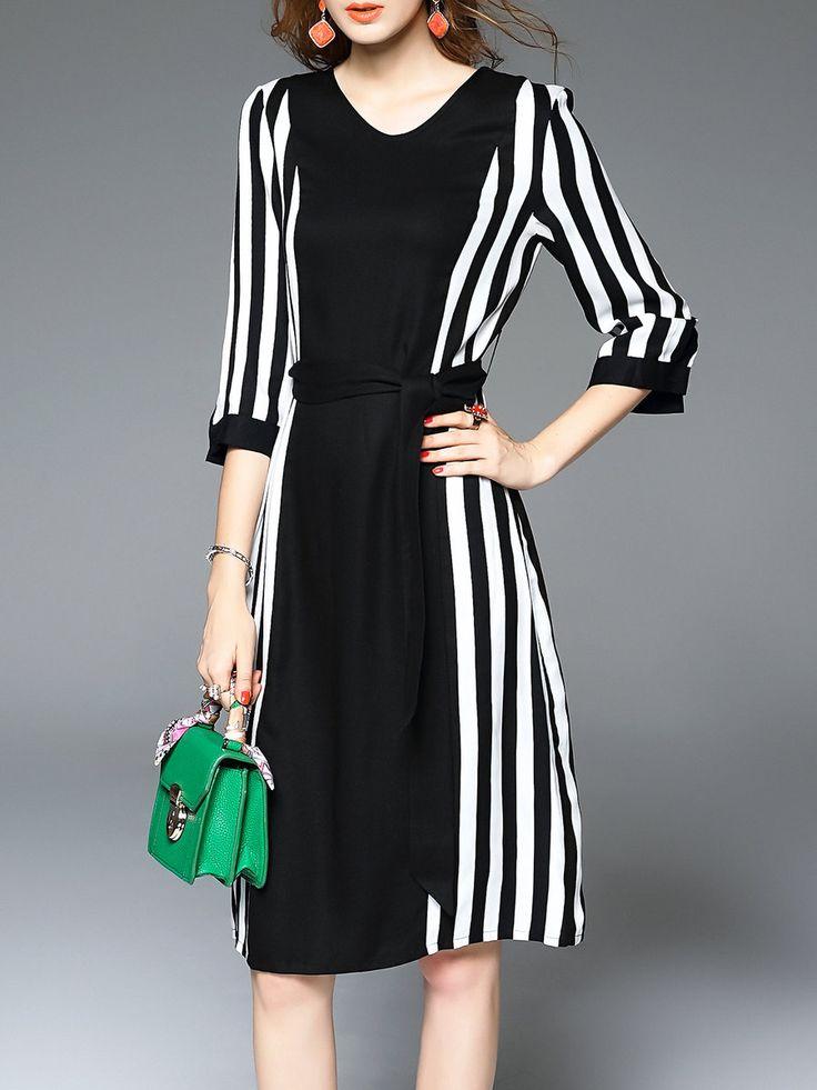 #AdoreWe #StyleWe Midi Dresses - D.FANNI Casual Tencel 3/4 Sleeve Printed V Neck Midi Dress - AdoreWe.com