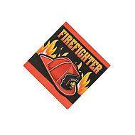 FIREFIGHTER PARTY  Fireman Helmet Beverage Napkins Serviettes - pack of 16