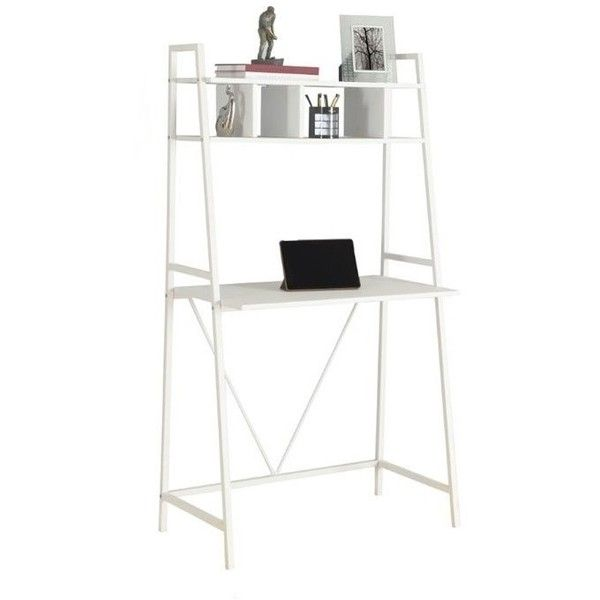 """Monarch 32"""""""" Metal Computer Desk (6.350 RUB) ❤ liked on Polyvore featuring home, furniture, desks, white, ladder shelves, white metal shelf, storage shelf, white desk and white storage shelves"""