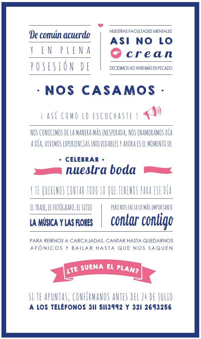 Tarjetón principal invitaciones Laura y Andrés