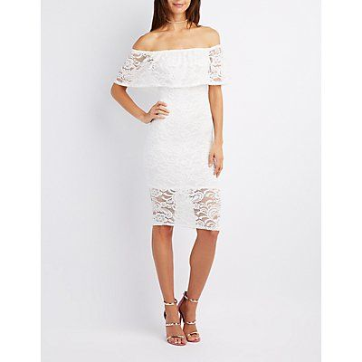 White Lace Off-The-Shoulder Bodycon Dress - Size S