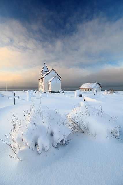 Seaside church in winter