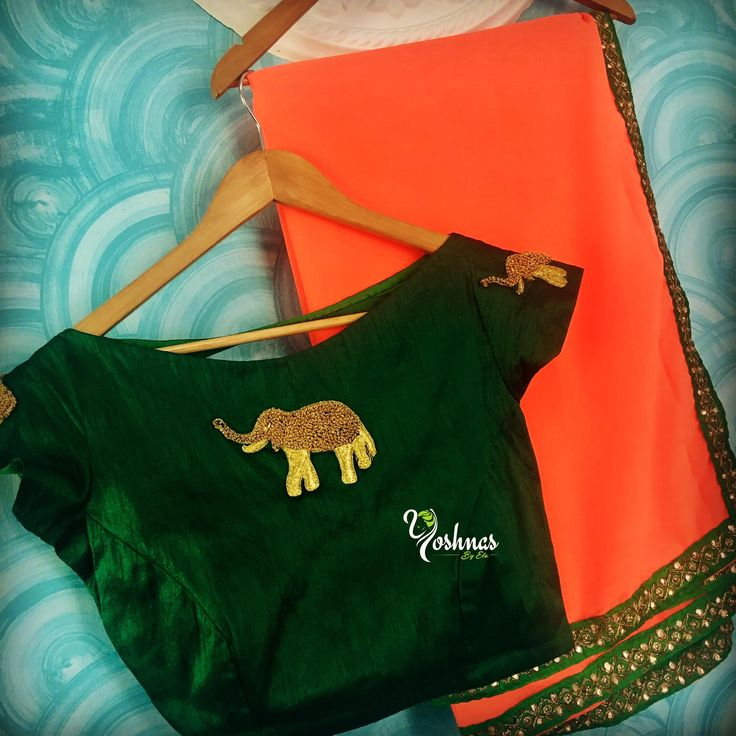YBA063: Orange saree with green elephant motif blouse!!!They can customize the size and colour as per your requirement.To order please reach on 7550227897 / 044 42037313. 24 July 2017