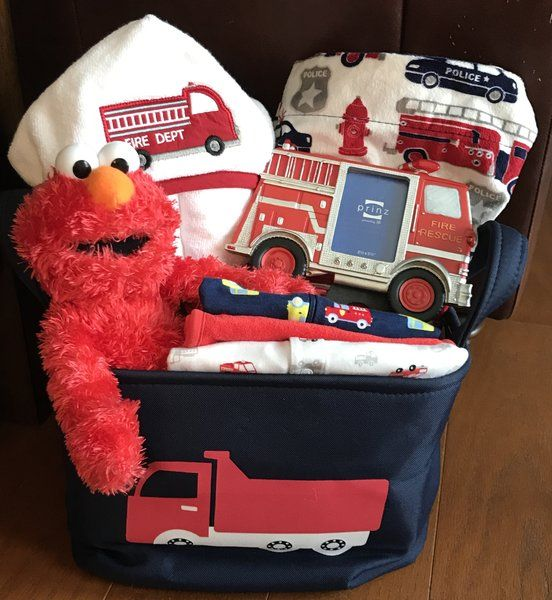 Baby gift baskets by fivebrownmonkies 105 elmo firetruck baby gift basket large negle Images