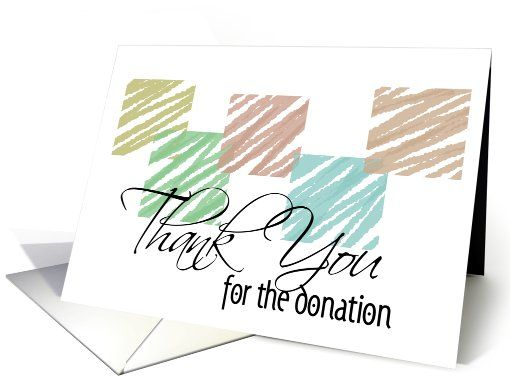 Thank you for the donation- Simple Color Sketch Blocks card - thank you notes for donation