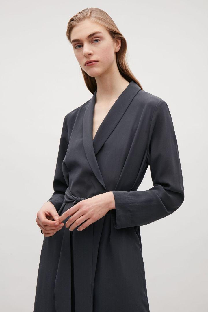 COS image 5 of Silk blazer dress in Steel Blue