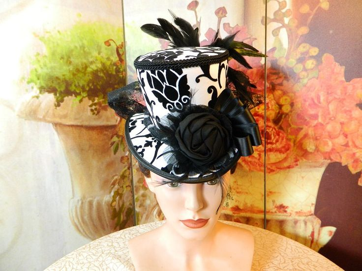 Tophat black white Minihat Fascinator Minizylinder Steampunk Burlesque Wedding Bonnet Gothic Gown formal Dress Fascinator Hut Chapeau riding by Nashimiron on Etsy