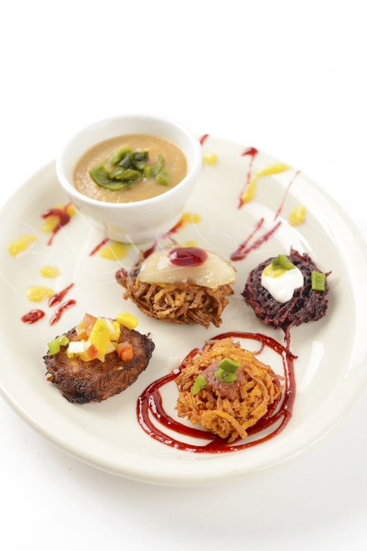 Mexican latkes and applesauce with smoked poblanos