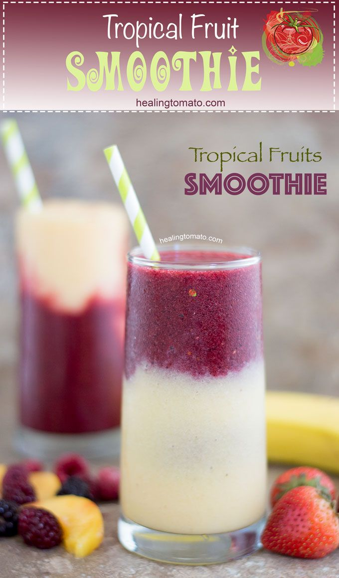 This tropical fruit smoothie is made with delicious fruits! Best summer drink and a fun way to feel like you are sitting on the sands of the Caribbean. #Ad @walmart @ToraniFlavor #mytoranisummer #smoothie #fruits #tropical #drinks #healthy #breakfast #brunch
