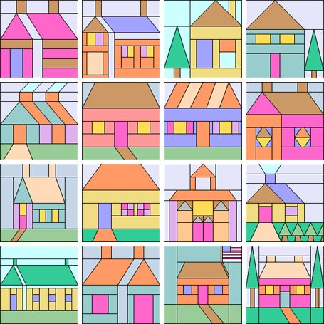 Home sweet home quilt block patterns for House pattern