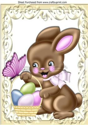 Cute easter bunny with basket of easter eggs A4 on Craftsuprint - Add To Basket!