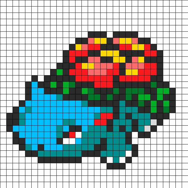 Venusaur Pokemon Sprite bead pattern