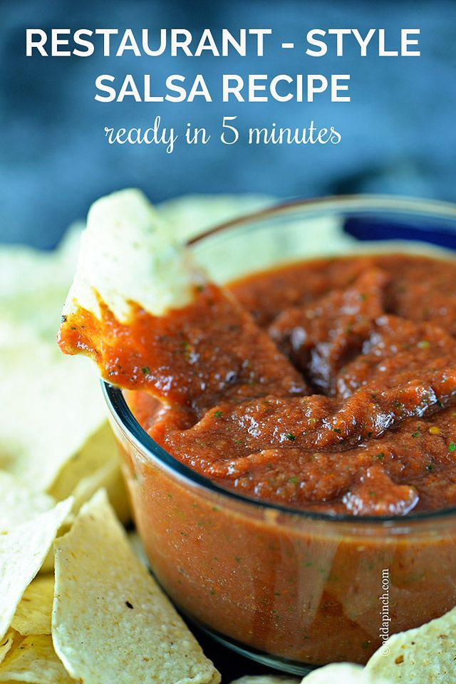 This salsa recipe is so quick and easy! Ready is 5 minutes! No cooking required for this fresh, delicious restaurant style salsa recipe that you can adjust the heat to your preference! // addapinch.com