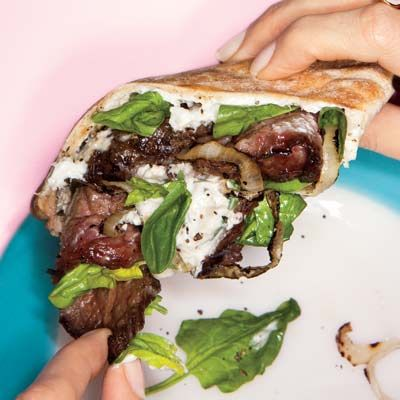 Steak' Em Up Pitas.  I made these last night! They were delish! The sauce is perfect, it's not a horseradish garlic overload. I wish I had made extra to have as left overs the next day! SO good!