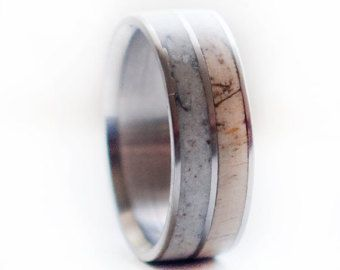 Mens Wedding Band Spalted Maple and Antler Ring by StagHeadDesigns