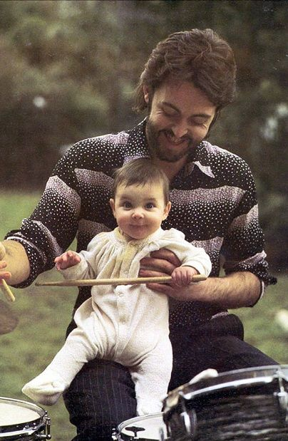 "Paul McCartney with Daughter Mary~ She came home from school one day and asked, ""Are you Paul McCartney from the Beatles?' Paul said, 'Yes, but to you, I'm just daddy.' *tears*"