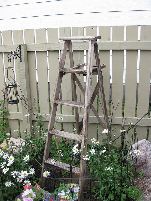 painted fence symbol, ladder is versatile piece, like sawhorse