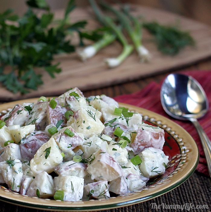 Yogurt Dill Potato Salad - A lighter, healthy take on creamy potato salad.