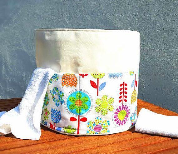 FANTASY FLOWERS BASKET 5 Pockets Bag Round Ironing Cloth Holder Laundry Cotton Storage Organiser Scandinavia Handmade Fabric Birthday Gift