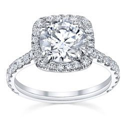 Square Halo Engagment Ring For A Round Stone With Side Diamonds. Love.