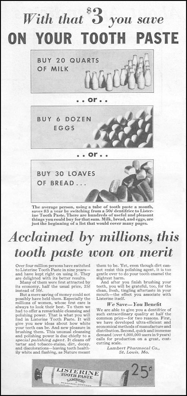 LISTERINE TOOTHPASTE. GOOD HOUSEKEEPING. 01/01/1932, p. 132.
