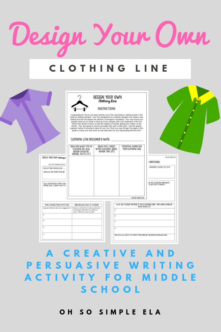 Design Your Own Clothing Line Writing Activity Ela Classroom