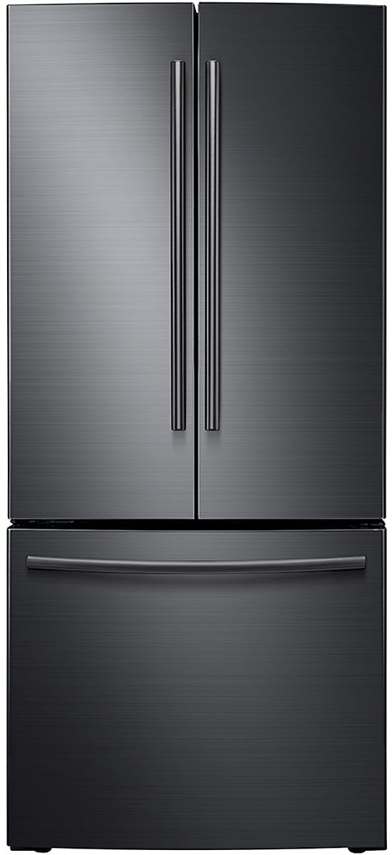 Samsung RF220NCTASG 30 Inch French Door Refrigerator with Ice Maker, LED Lighting, Energy Star Rated, 21.8 cu. ft. Capacity, 4 Split Tempered Spill Proof Shelves, 2 Humidity Controlled Crispers and Internal Digital Display: Black Stainless Steel