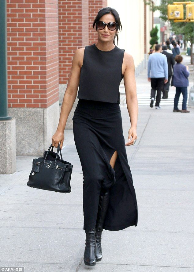 Dressed for success: Padma Lakshmi put her own twist on the little black business suit in this sexy ensemble when she was invited to speak at the CEO Connectors panel at the TimesCenter stage in Times Square, Manhattan, during Advertising Week on Tuesday