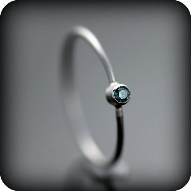 Affordable Blue Diamond And Platinum Wedding Ring