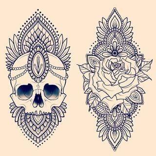 31 of the Prettiest Mandala Tattoos on Pinterest | Skulls and Roses