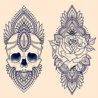 31 of the Prettiest Mandala Tattoos on Pinterest | Skulls and Roses