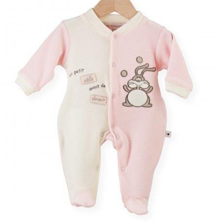 """Un pyjama naissance fille """"Un petit câlin"""" rose/ vanille pour le jour de Pâques"""