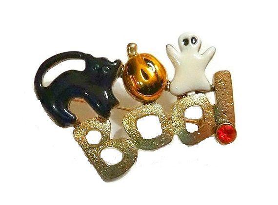 BOO! Vintage Halloween BOO Brooch Rhinestone & by PopcornVintageByTann  #boojewelry #boo! #boojewelry #halloweenjewelry #vintagehalloween #halloweenbrooch #halloweenpin #blackcatbrooch #pumpkinbrooch #ghostbrooch #spookyjewelry #popcornvintagebytann #scaryjewelry #allhallowsevejewelry #halloweencollectibles #vintagecollectibles #vintagejewelry #70sjewelry #80sjewelry #halloweenfigural