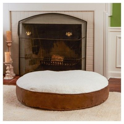 Greendale Fashions Happy Hounds Scout Deluxe Round Dog Bed - Latte/Birch - Medium, Brown
