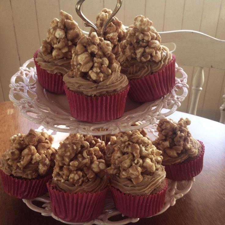Caramel mud cakes with salted caramel popcorn
